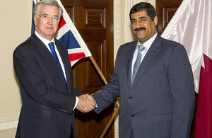 Michael Fallon with His Excellency General Hamad Bin Ali-Al Attiyah in London
