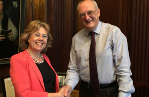 Baroness Northover meets Professor Sir Leszek Borysiewicz, Vice-Chancellor of the University of Cambridge. Picture: Matt Mee/DFID