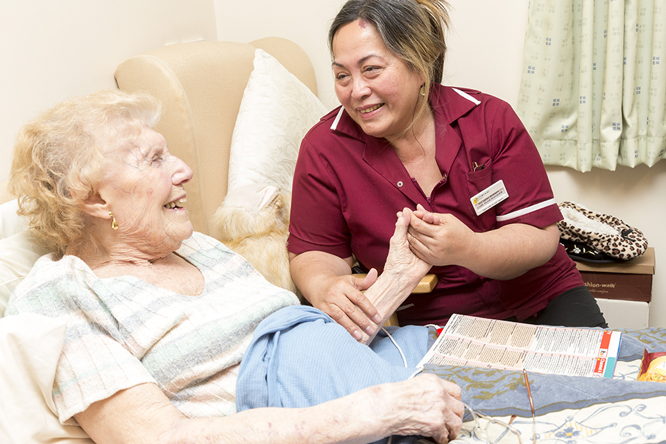 Patient in a care home with a carer