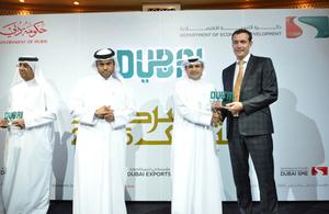 Joe Hepworth collected the BCB's award from HE Sami Al Qamzi