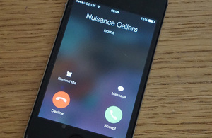 Mobile phone receiving a nuisance call