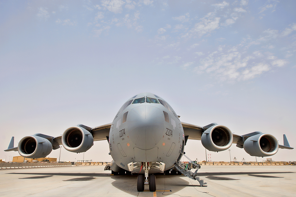 A Royal Air Force C17 transport aircraft at Camp Bastion in Afghanistan, during operations in 2014.