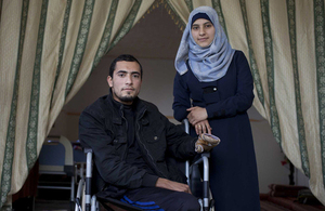 Abdullah and his fiancée at home in Gaza. Picture: Abbie Trayler-Smith/Panos for DFID