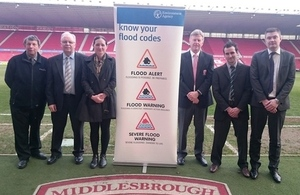 Representatives from the Environment Agency, Middlesbrough Football Club, Middlesbrough Council and Cleveland Emergency Planning Forum at the launch of the new service
