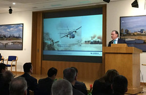 Richard Thompson, Head of ADS Military Air UK, delivering an overview of the Airbus Defence and Space business.