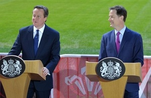 PM and DPM speaking at Millennium Stadium, Cardiff, on new commitments on the way forward for Welsh devolution.
