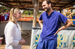 Justine Greening talks with Dr Dominic Waddington, an NHS GP helping in the fight against Ebola in Sierra Leone. Picture: Michael Duff