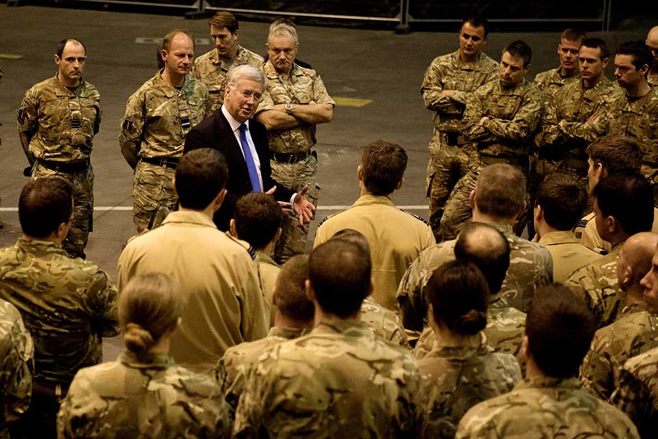 Michael Fallon speaks to UK military personnel during a trip to RAF Akrotiri [Picture: Corporal Lee Goddard RAF, Crown copyright]