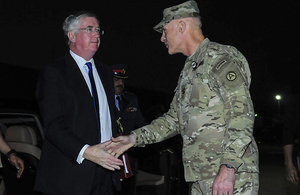 Defence Secretary Michael Fallon meets US Commander of the Combined Joint Task Force Lt General James Terry