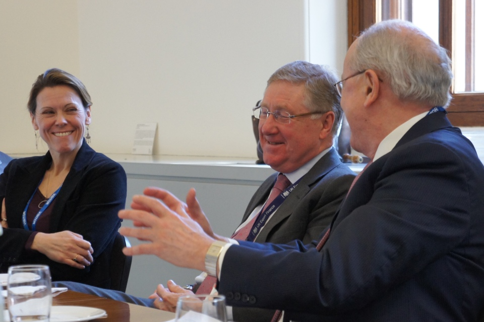 From left: Caroline Rees (SHIFT Project President), David Godfrey (UKEF Chief Executive) and Professor Ruggie