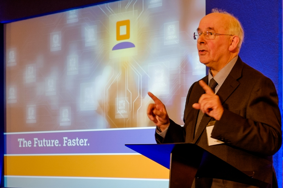 Image of David Grant, Interim CEO of Innovate UK speaking at the KTN launch