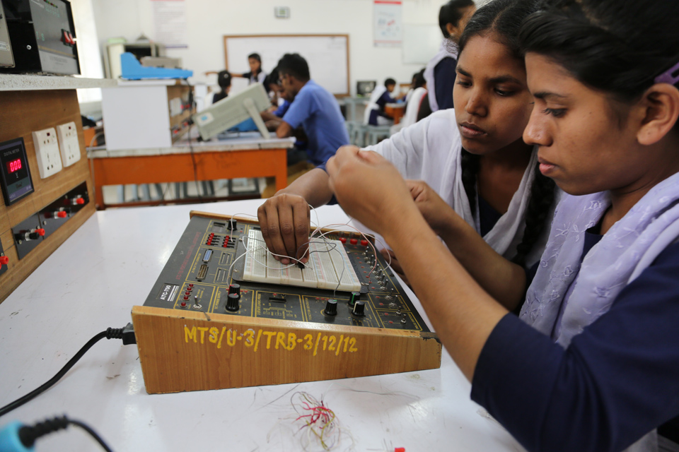 Switched on: Swapna learns the skills which will enable her to become an engineer. Picture: Ricci Coughlan/DFID