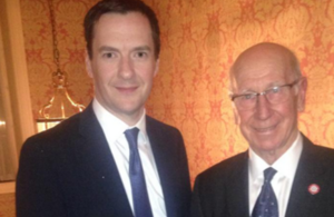 Chancellor, George Osborne meeting Sir Bobby Charlton