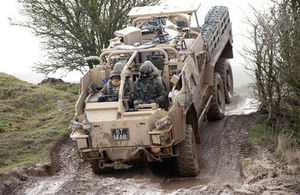 Soldiers training on the Coyote vehicle at the Defence School of Transport at Leconfield, east Yorkshire