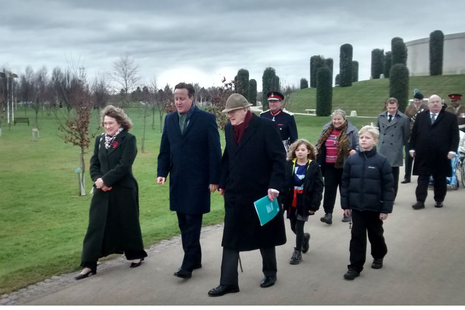 David Cameron and Eric Pickles at the National Memorial Arboretum
