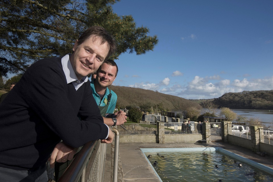 Nick Clegg at Seal Sanctuary in Cornwall