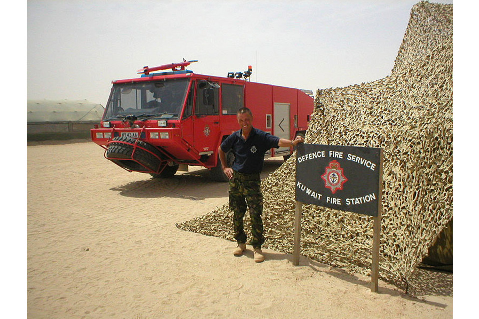 Len Harvey, seen on duty with the Defence Fire Service in the Gulf (All rights reserved.)