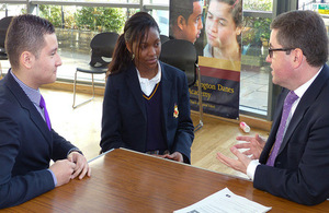 Solicitor General and 2 pupils at Burlington Danes School