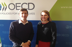 OECD Deputy Secretary General Mari Kivineimi with UK Ambassador Nick Bridge