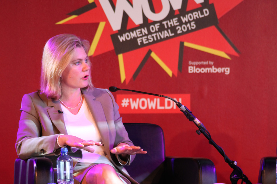 Justine Greening speaking at the Women of the World Festival. Picture: Lindsay Mgbor/DFID