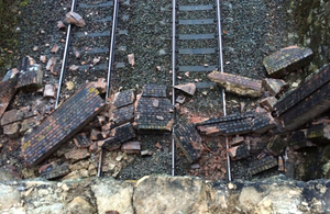 Image of debris on track before the collision, looking east. Train 1C89 approached on the right-hand track (witness photograph)