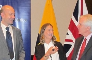 Davide Stronati, María Emilia Jaramillo from the Urban Mechanics' Agency at the Municipality of Quito and Patrick Mullee, Ambassador