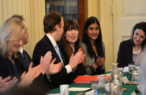Apprentices Paige McConville (Centre) and Pallavi Boppana (Centre Right) briefed Cabinet about their apprenitceships