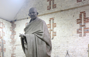 Gandhi clay statue