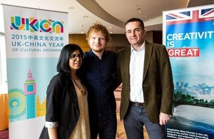 Deputy Consul General Matthew Forbes (right) and Meera Saujani from British Council (left) meet with Ed Sheeran (middle) to promote British Creativity.
