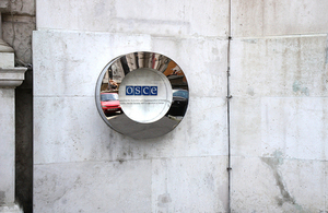 OSCE plaque outside their headquarters in Vienna, Austria