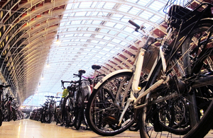Cycle parking spaces at a railway station.