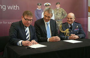 Armed Forces Minister Mark Francois, Jeroen Hoencamp, Vodafone UK CEO and Vice Chief of the Defence Staff, Air Chief Marshall Sir Stuart Peach
