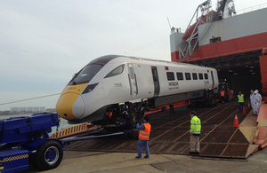 IEP train arriving at Southampton port.