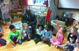 Sam Gyimah, Minister for Childcare with nursery scholl children