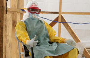 Photograph of an Ebola healthcare worker in Sierra Leone