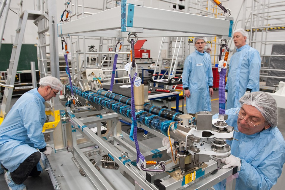 Solar Orbiter instrument boom for magnetic field and electron detection at Airbus Defence and Space.