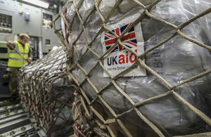 UK aid on a C-17 plane