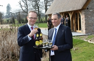 Dominic Jermey toasts Martin Thatcher during visit to Thatcher's Cider