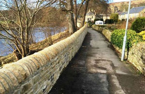 The newly-completed flood wall in Stanhope, County Durham