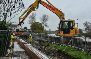 Flood repair work at Minsterworth, Gloucestershire