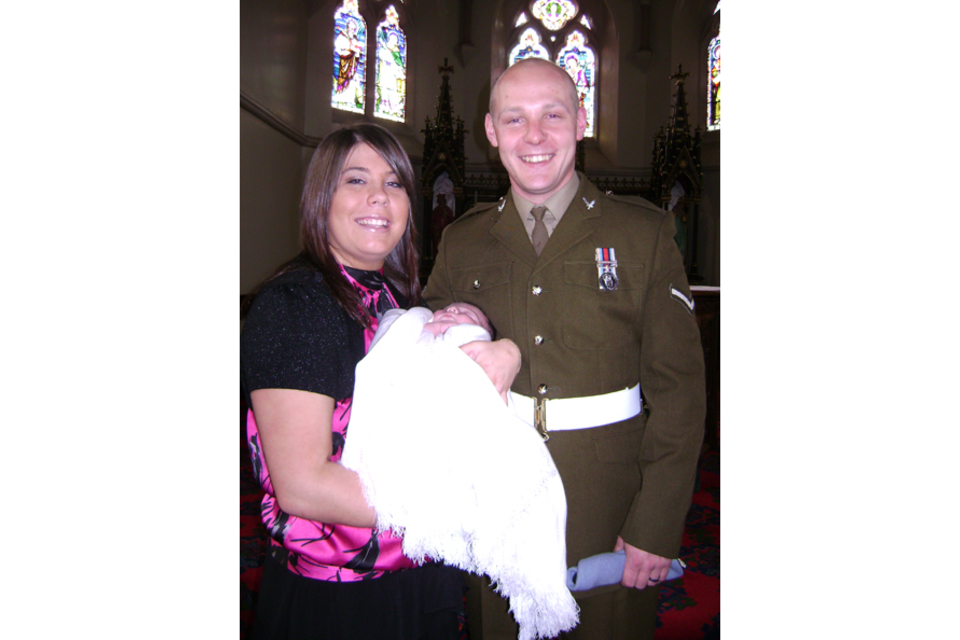 Lance Corporal David Wilson with his fiancée Michelle Curry and daughter Poppy (All rights reserved.)
