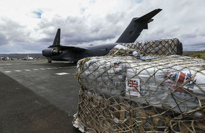 UK aid arrives in Vanuatu. Picture: Sgt Neil Bryden/Royal Air Force