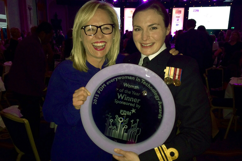 Lieutenant Commander Roxane Heaton was named 2015 Woman of the Year at the FDM everywoman in Technology Awards