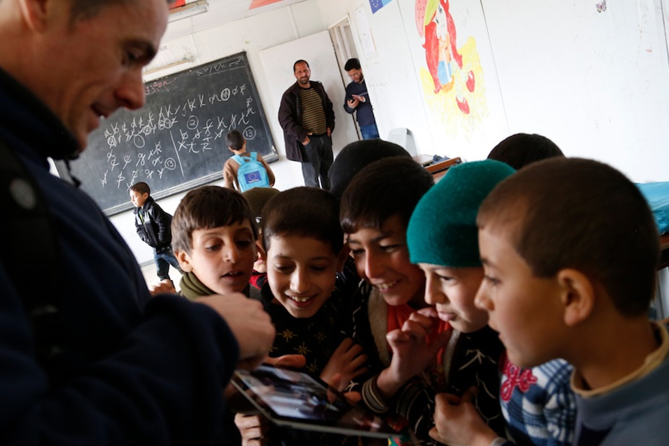 British teacher Keith Coughlin, visiting a school in the Zaatari refugee camp, Jordan. Picture: Russell Watkins/DFID