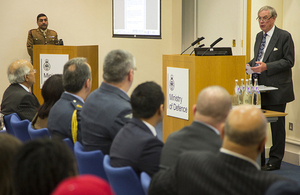 Lord Astor of Hever addresses an audience at MOD as part of Islam Awareness Week