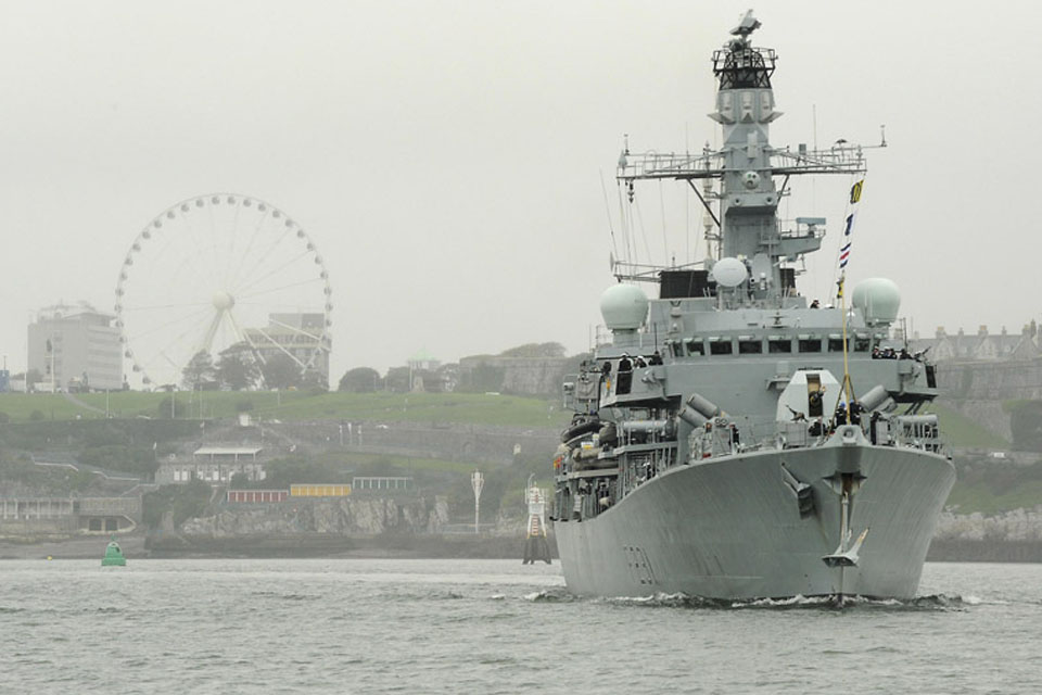 HMS Argyll sails from Plymouth Sound on a six-month deployment to the Middle East