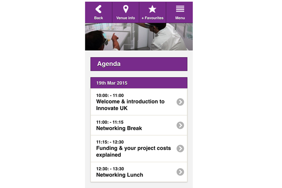 Image of Innovate UK's new events app