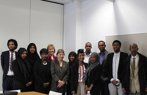 Andrea Leadsom meets with some of London's Somali community