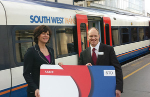 Claire Perry, Rail Minister and Tim Shoveller, Managing Director of South West Trains