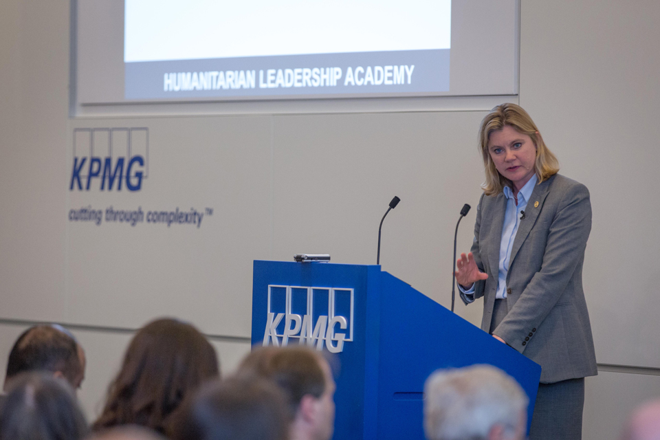 Justine Greening speaking at the launch of the Humanitarian Leadership Academy. Picture: Louis Leeson for the Humanitarian Leadership Academy.